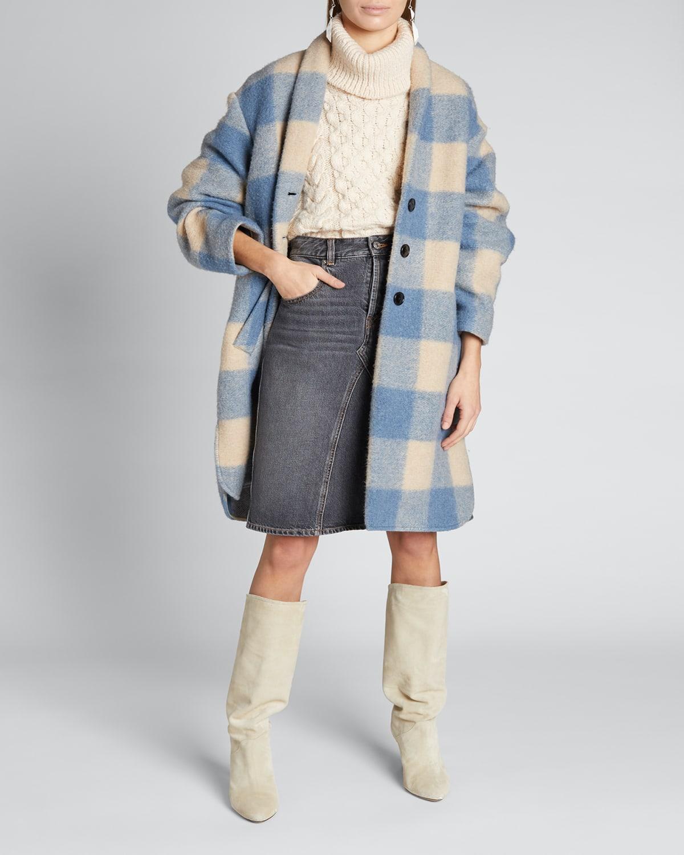 Klelayo Plaid Shawl-Collar Coat