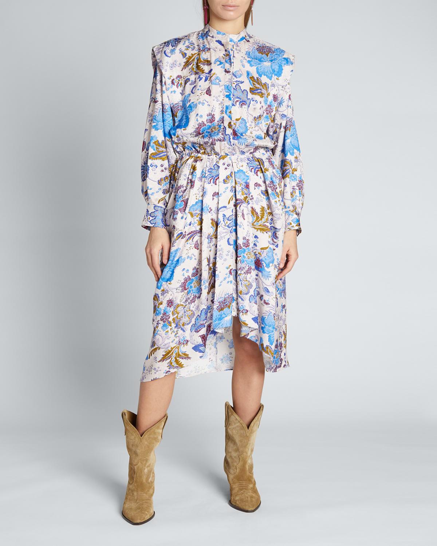 Okleya Floral-Print Pleated Midi Dress