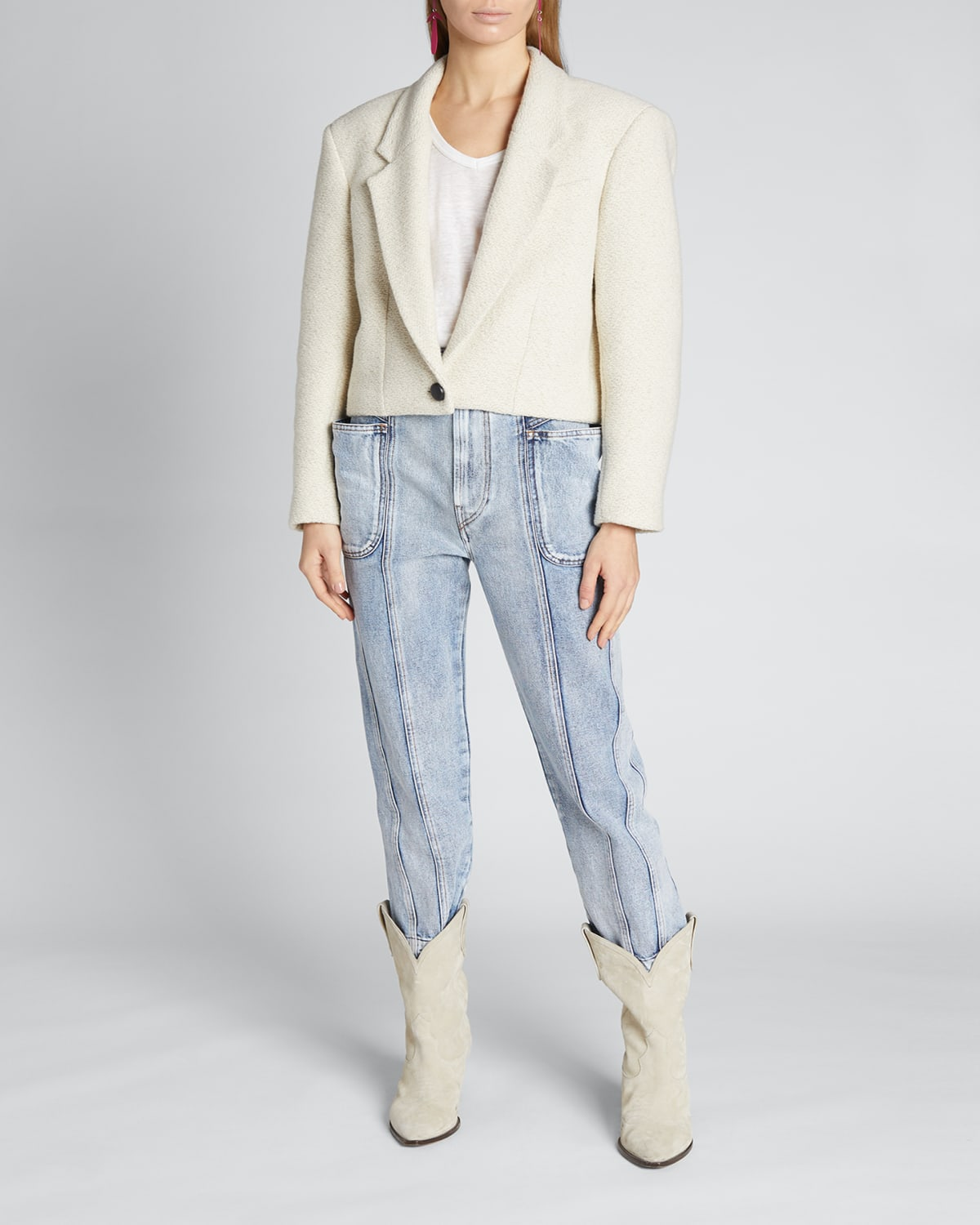 Maden Cropped Single-Button Jacket