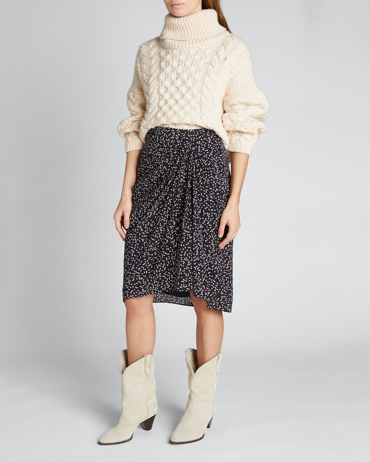 Colette Printed Gathered-Front Skirt