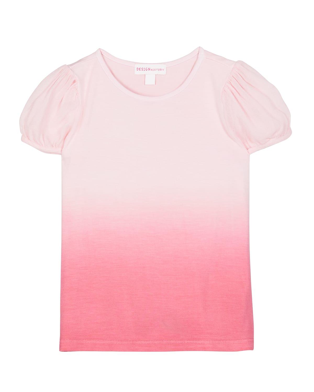 Girl's Ombre Short Puff-Sleeve Shirt