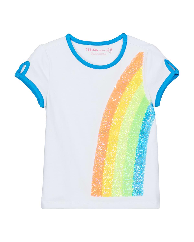 Girl's Glitter Rainbow Short-Sleeve Top
