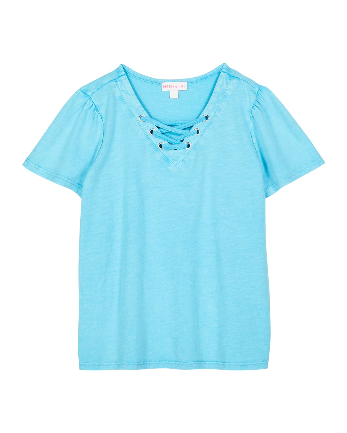 Girl's Short-Sleeve Lace-Up Top