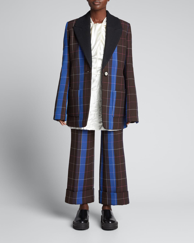 Two-Tone Plaid Cuffed Wide-Leg Trousers