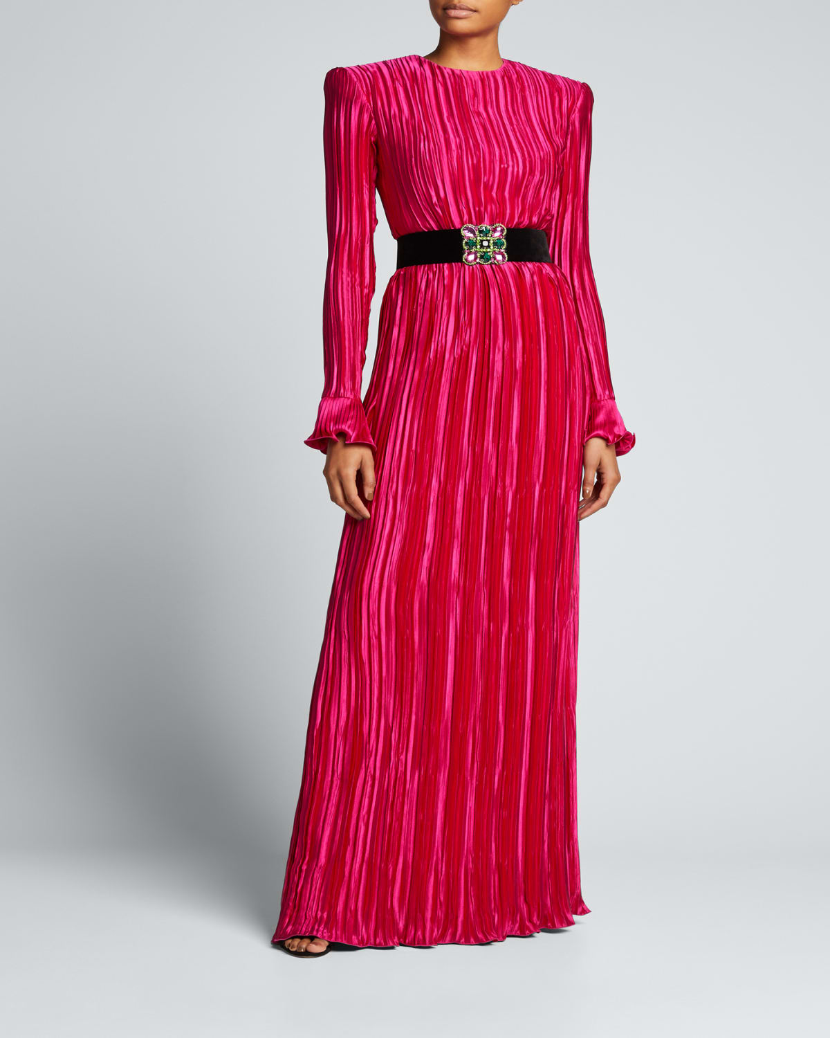 Lame Belted Plisse Silk Gown