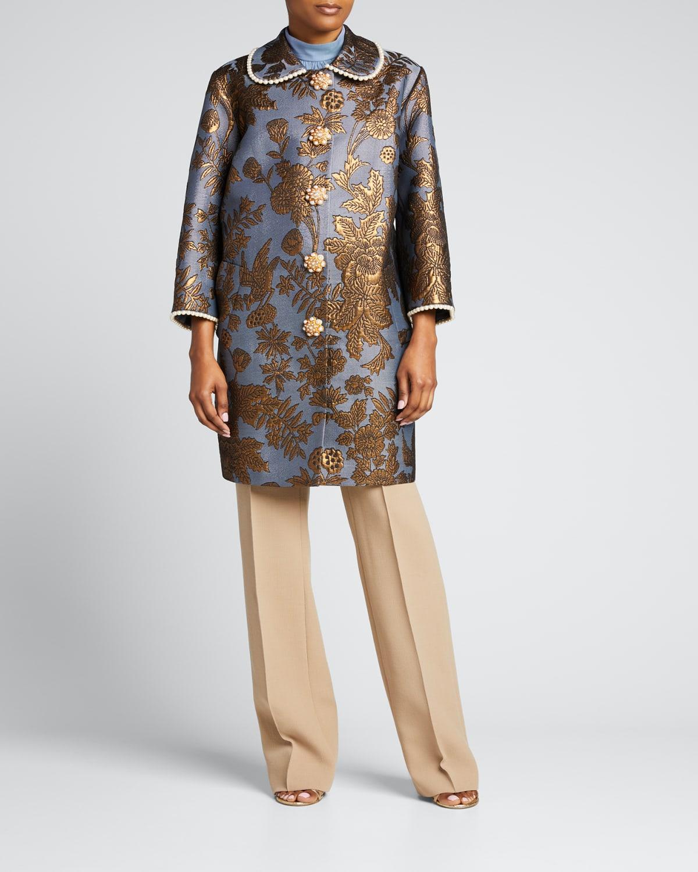 Floral Brocade Pearl-Trim Long Coat