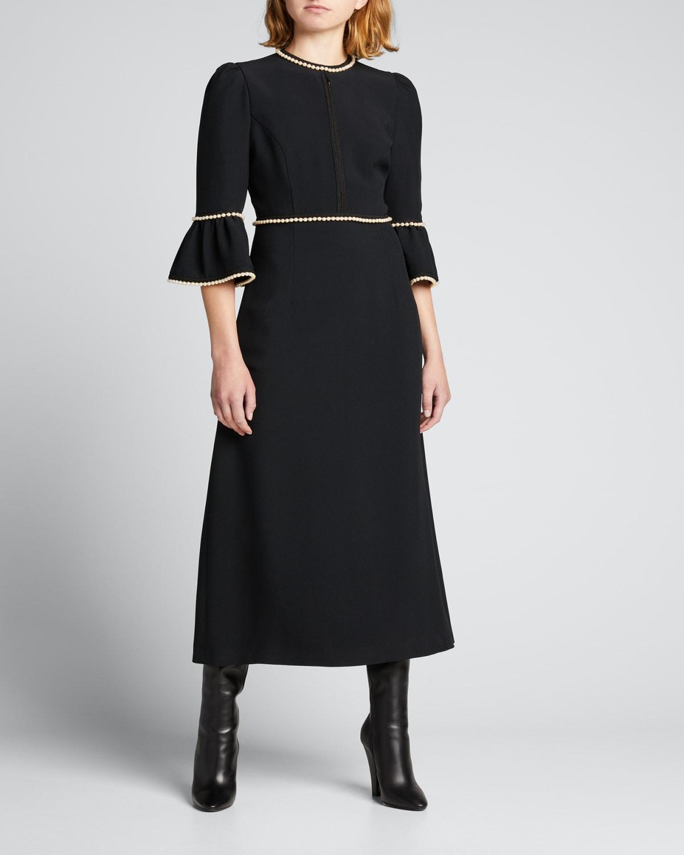 Pearl-Trimmed Midi Dress