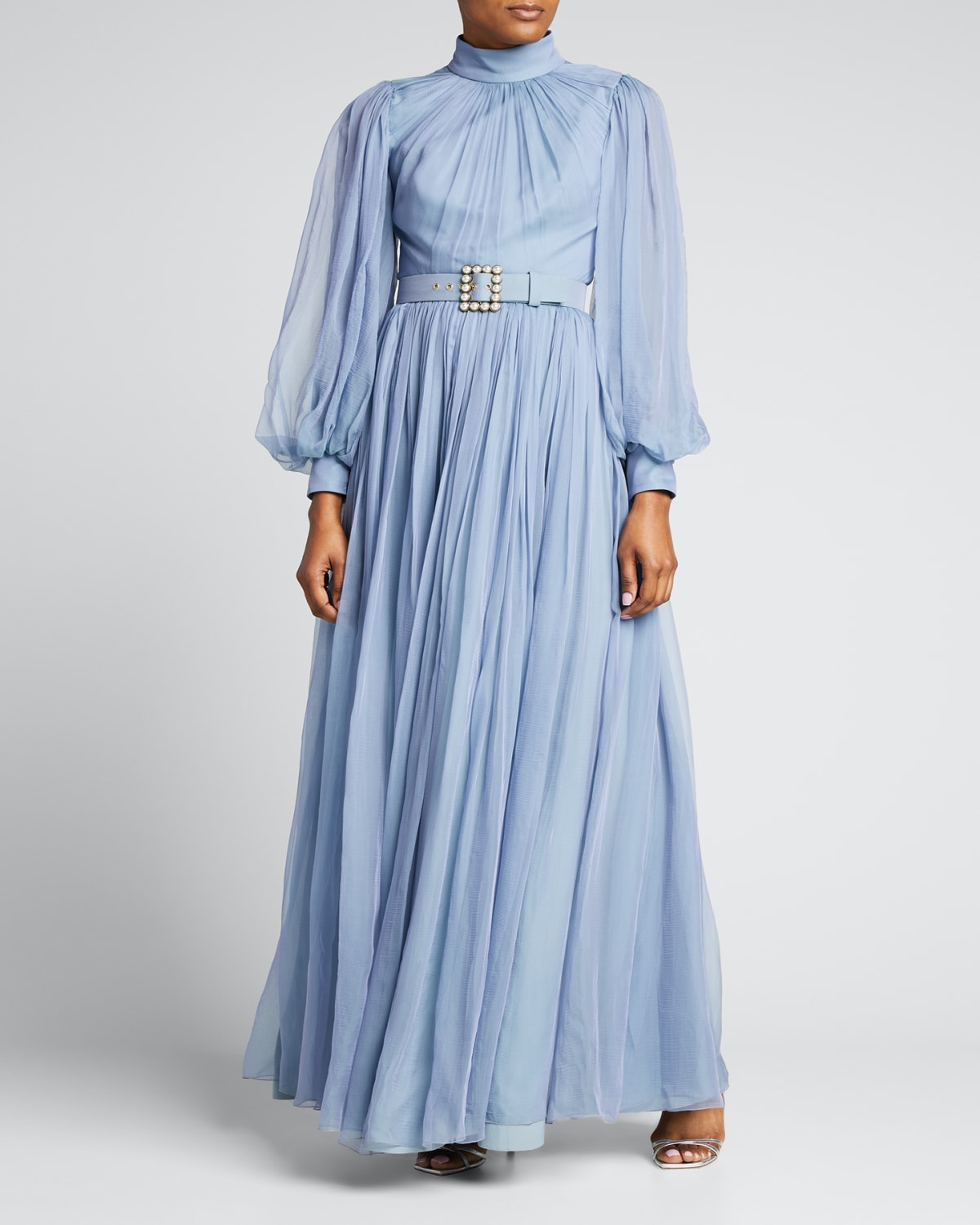 Pearl-Belted Chiffon Pleated Gown