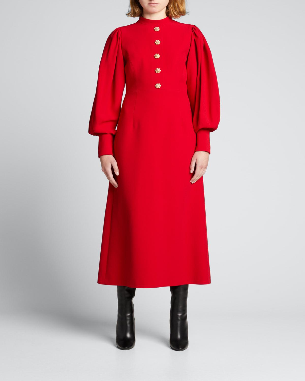 Puff-Sleeve Midi Dress w/ Jeweled Buttons