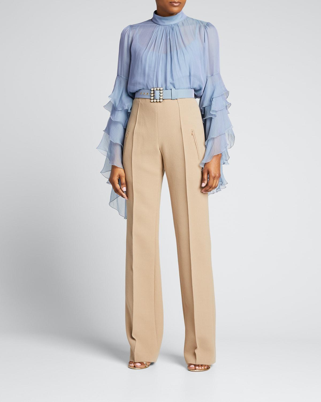 High-Waist Wool Pants