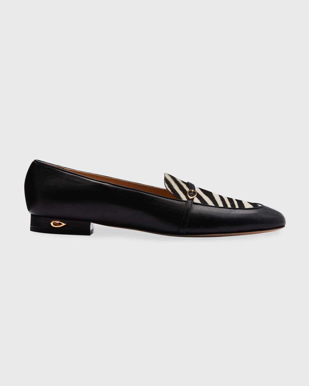 Fabrizio Zebra-Print Fur Loafers