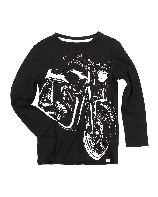 Boy's Retro Motorcycle Graphic Cotton T-Shirt