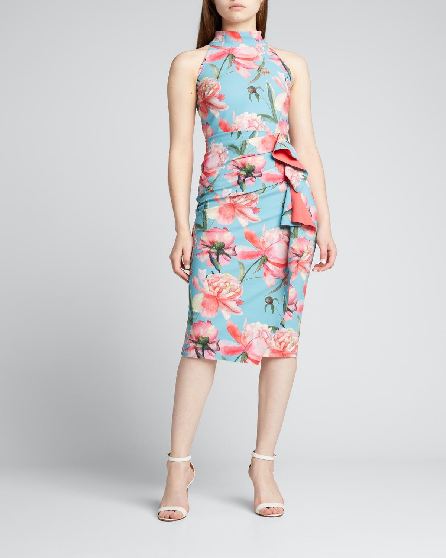 Amenadiel Floral Print Side-Drape Halter Dress