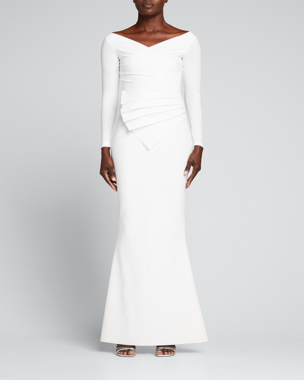 Kaya Long-Sleeve Gathered Jersey Gown