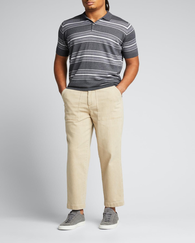 Men's Long-Sleeve Polo Shirt w/ Striped Collar
