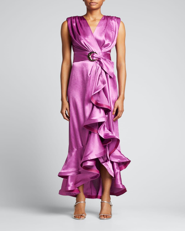 Lika Belted Asymmetric Ruffle Dress