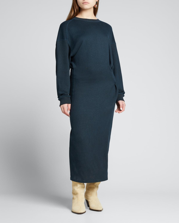 Meg Raw-Edge Sweatshirt Midi Dress
