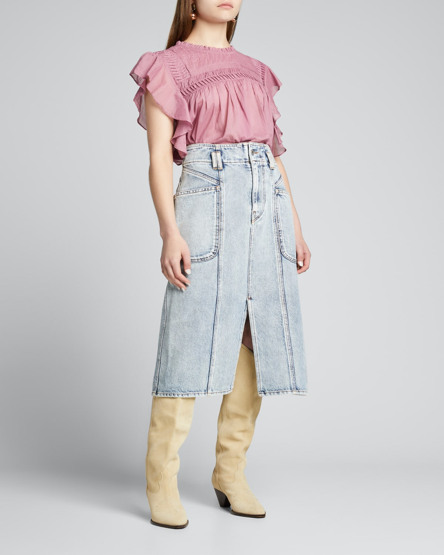 Layona Pleated Yoke Cotton Top