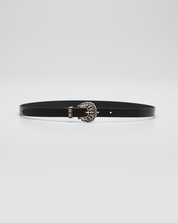 Temoia Jeweled-Buckle Leather Belt