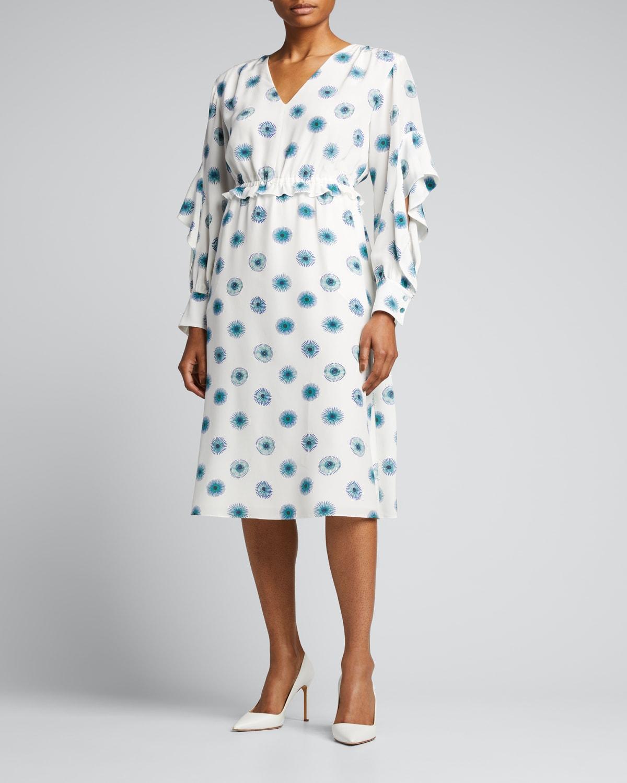 V-Neck Flutter-Sleeve Silk Midi Dress