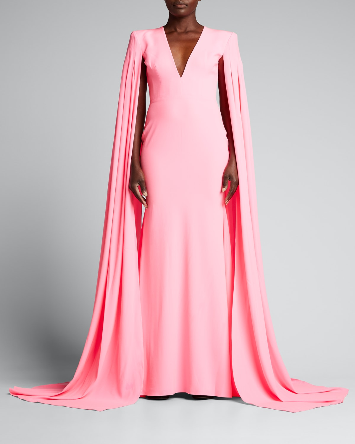 Cape-Sleeve Crepe Trumpet Gown