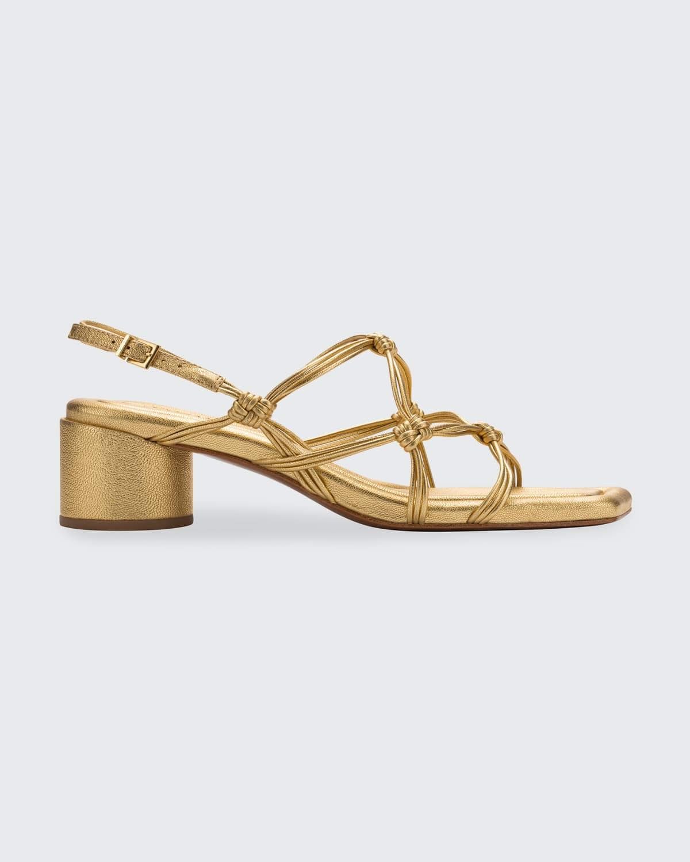 Metallic Knot Cylinder-Heel Slingback Sandals
