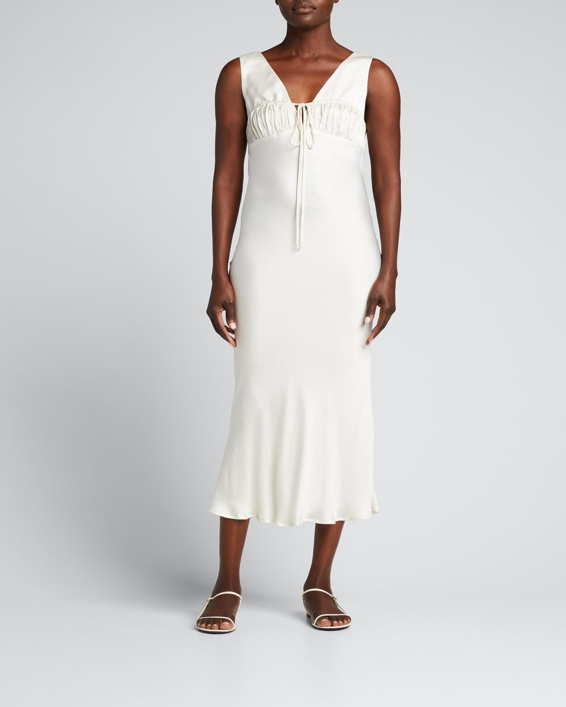 Carolinne Shirred Slip Dress