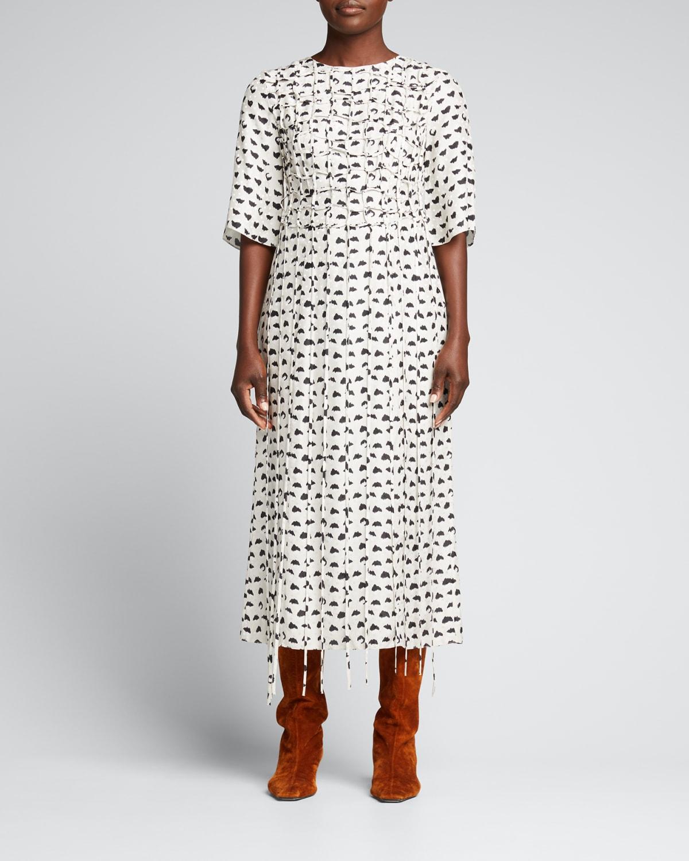 Grid Tie Dot Jacquard Midi Dress
