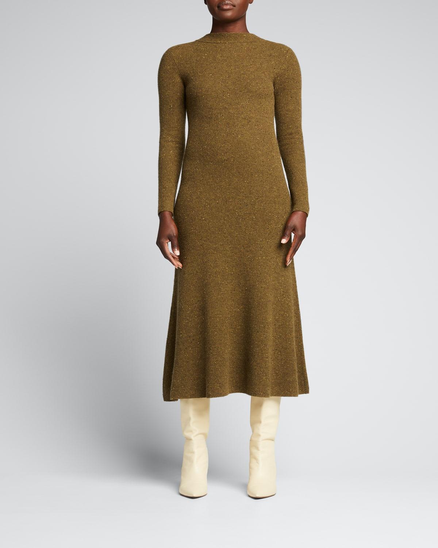 Cashmere Zip-Front Long-Sleeve Dress