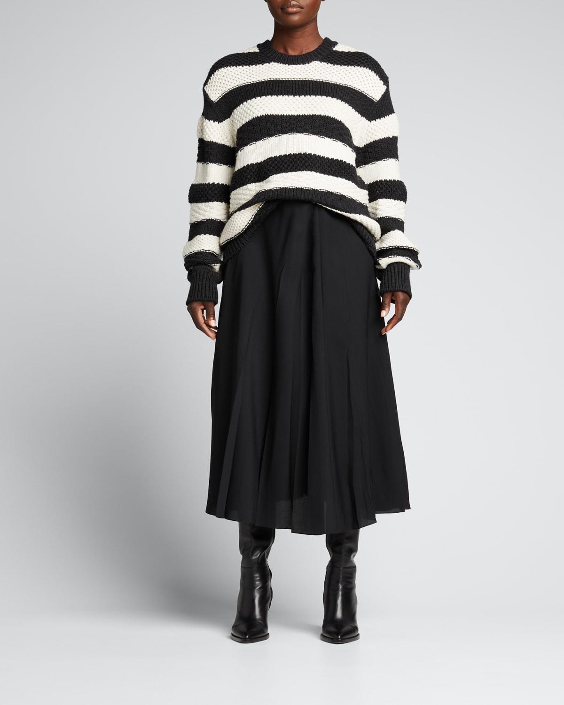Striped Wool Oversized Crewneck Sweater