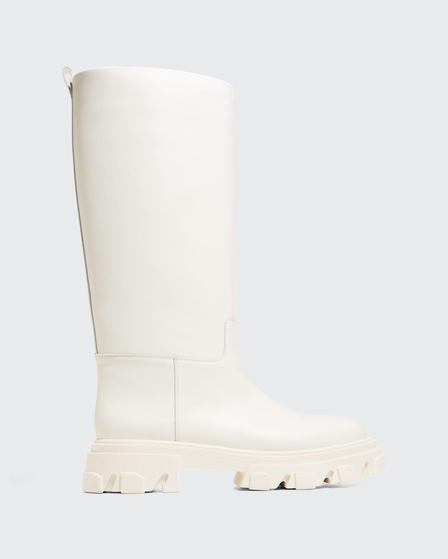 Tubular Leather Lug-Sole Moto Boots