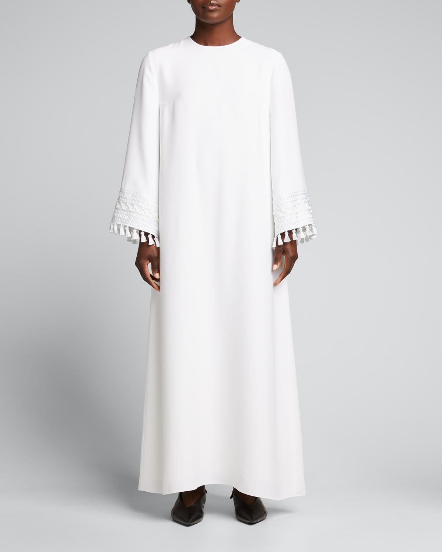 Tassel Sleeve Trim Caftan Dress