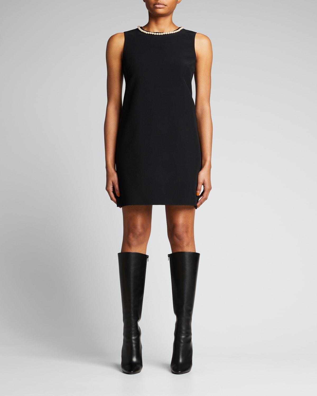 Pearl Neck-Trimmed Sleeveless Mini Dress