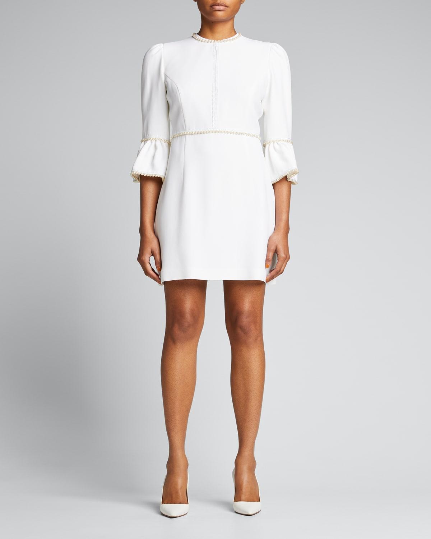 Pearl-Trimmed Crepe Zip-Cutout Mini Dress
