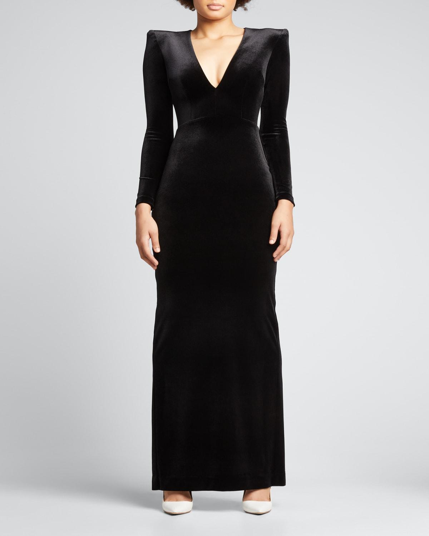 Velvet Strong-Shoulder Column Gown
