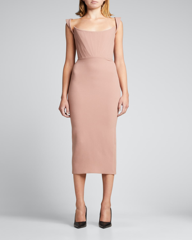 Singlet Corset Stretch-Crepe Midi Dress
