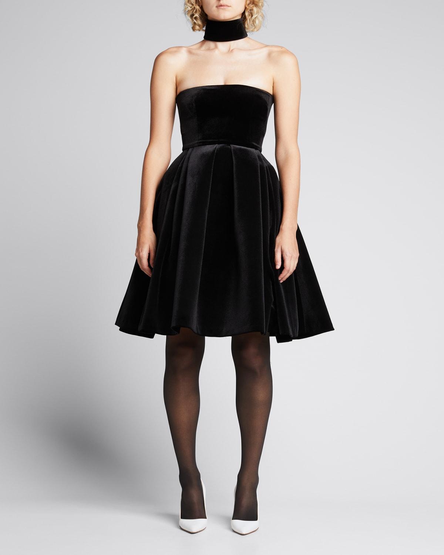 Velvet Fit-and-Flare Strapless Midi Dress w/ Neck Cuff