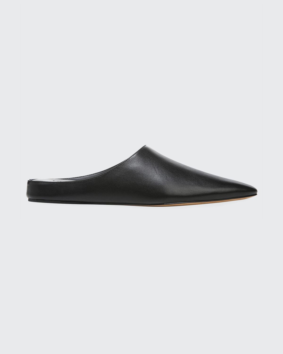 Vince Frost Leather Ballerina Mules In Black