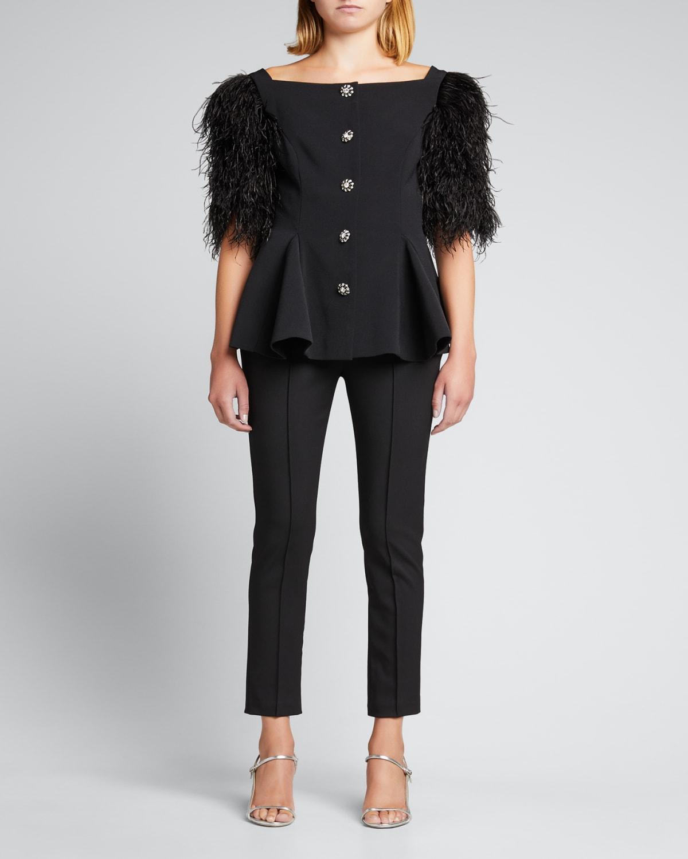 Short-Sleeve Peplum Jacket w/ Feather Trim
