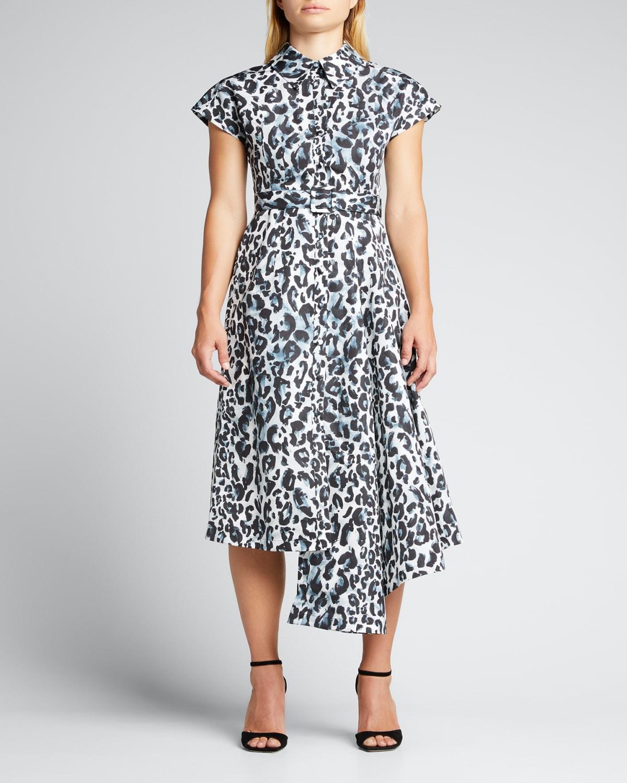 Leopard-Print Asymmetric Midi Shirtdress