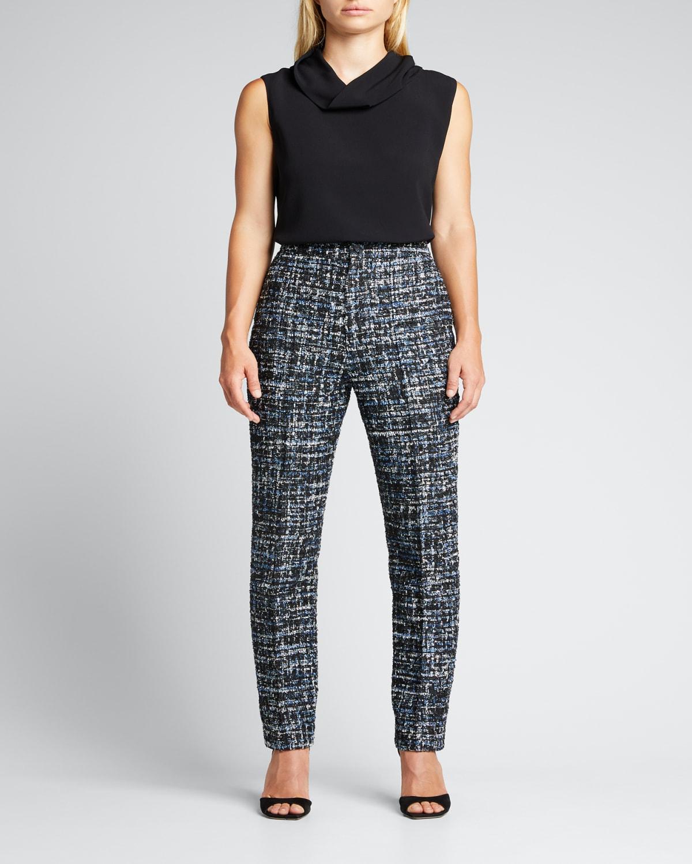 Tweed Paillette Skinny-Leg Trousers