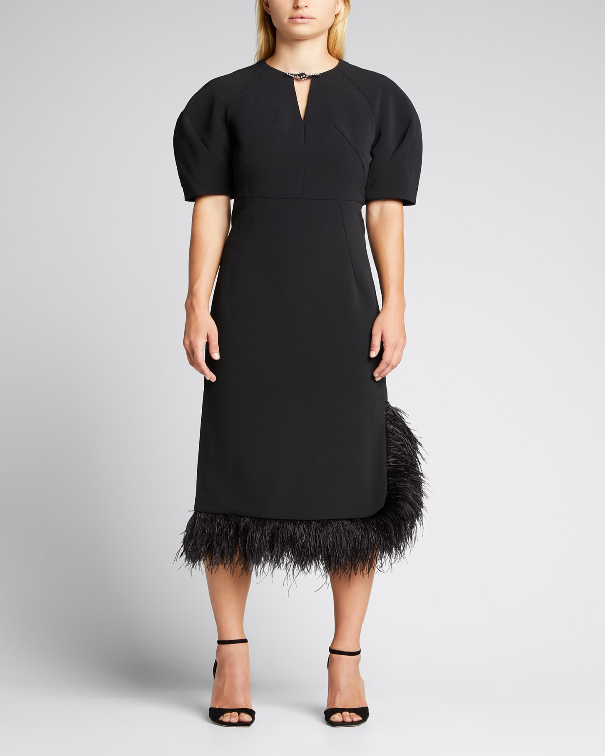 Feather-Trimmed Crepe Midi Dress