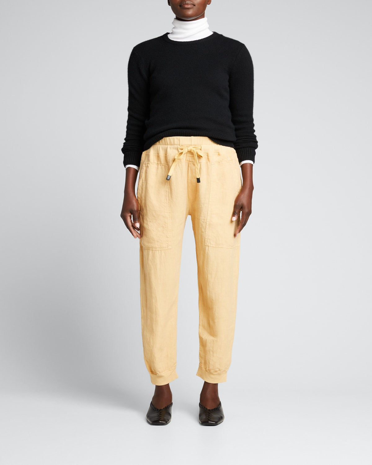 Utility Linen Ribbed-Cuff Pants