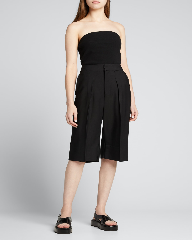 Crepe Pleated Longerline Shorts