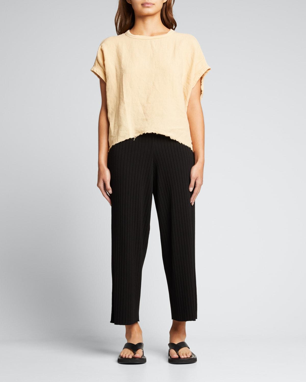 Circle Contrast Cotton-Linen Top
