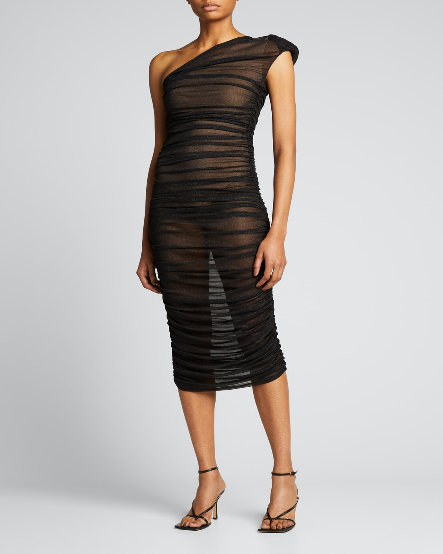 Maya One-Shoulder Ruched Dress w/ Nude Lining