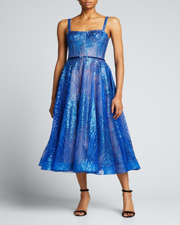 Mademoiselle Indigo Sequin Midi Dress