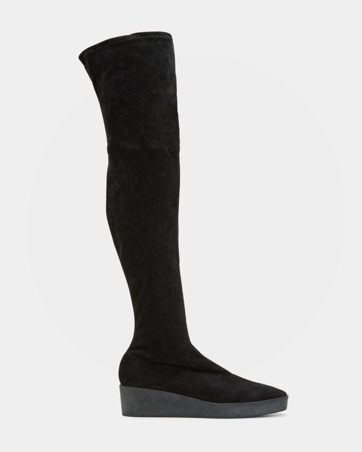 Glove Suede Over-the-Knee Wedge Boots