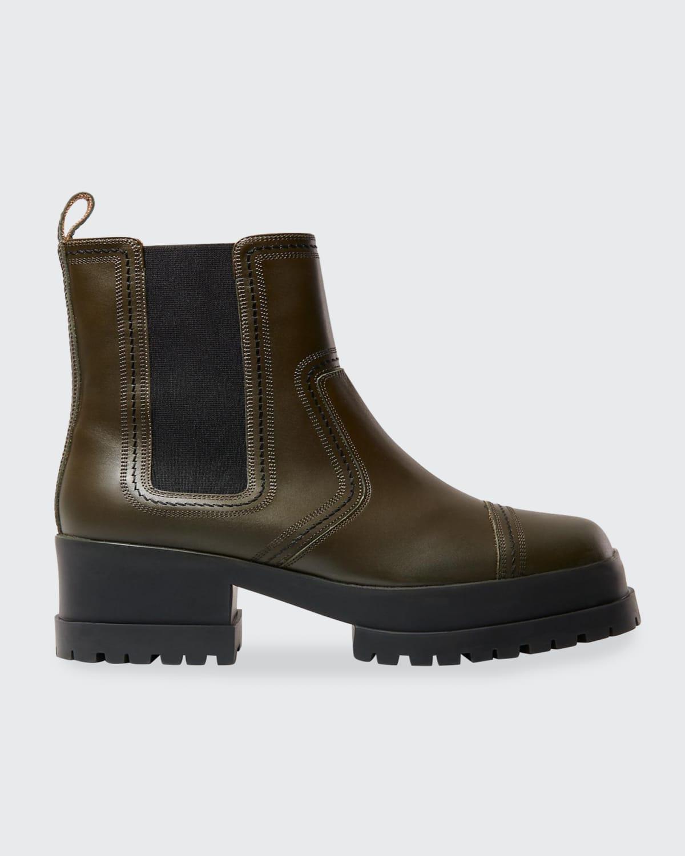 Wafa Leather Chelsea Combat Lug Sole Boots