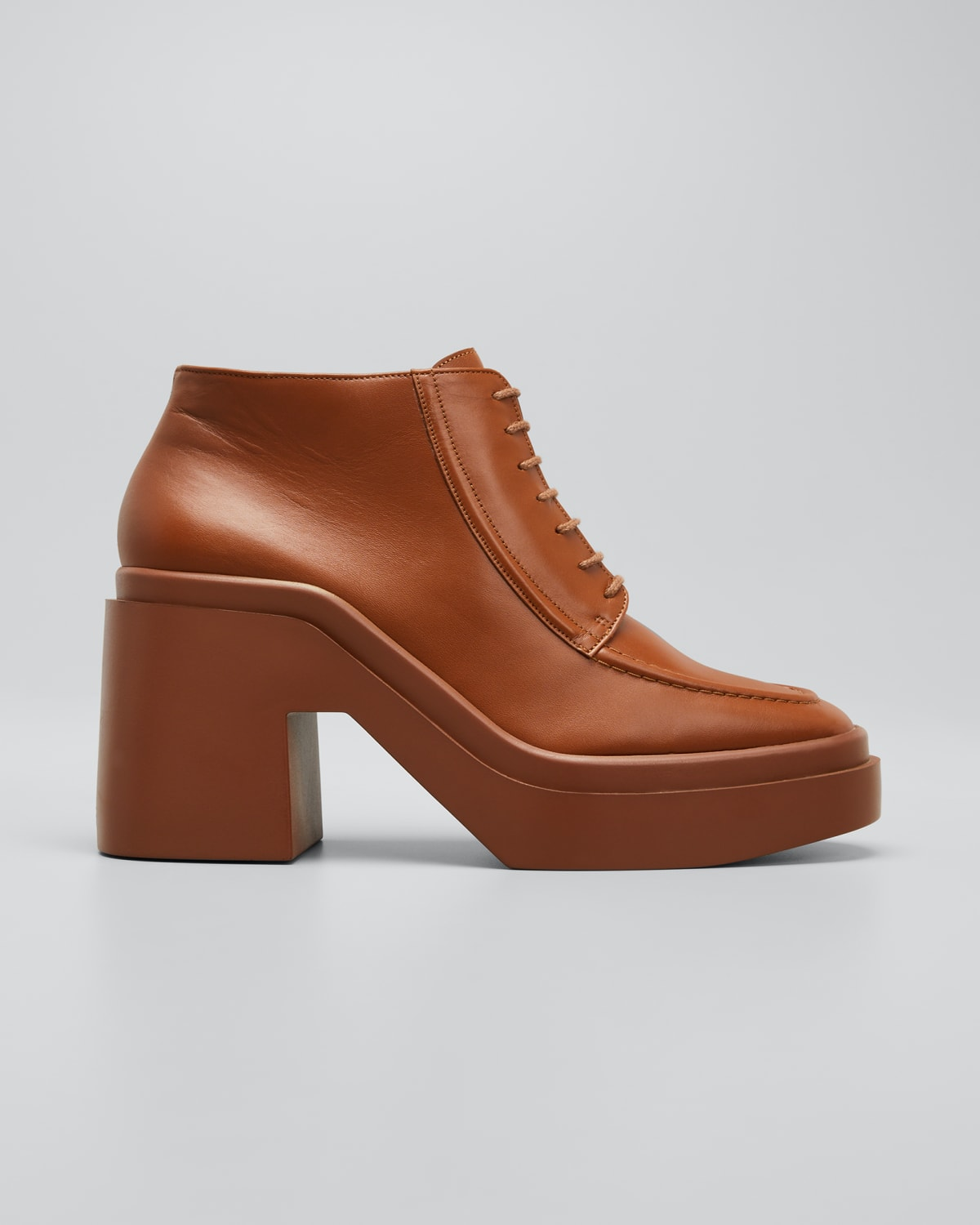 Nadia Leather Lace-Up Loafer Booties